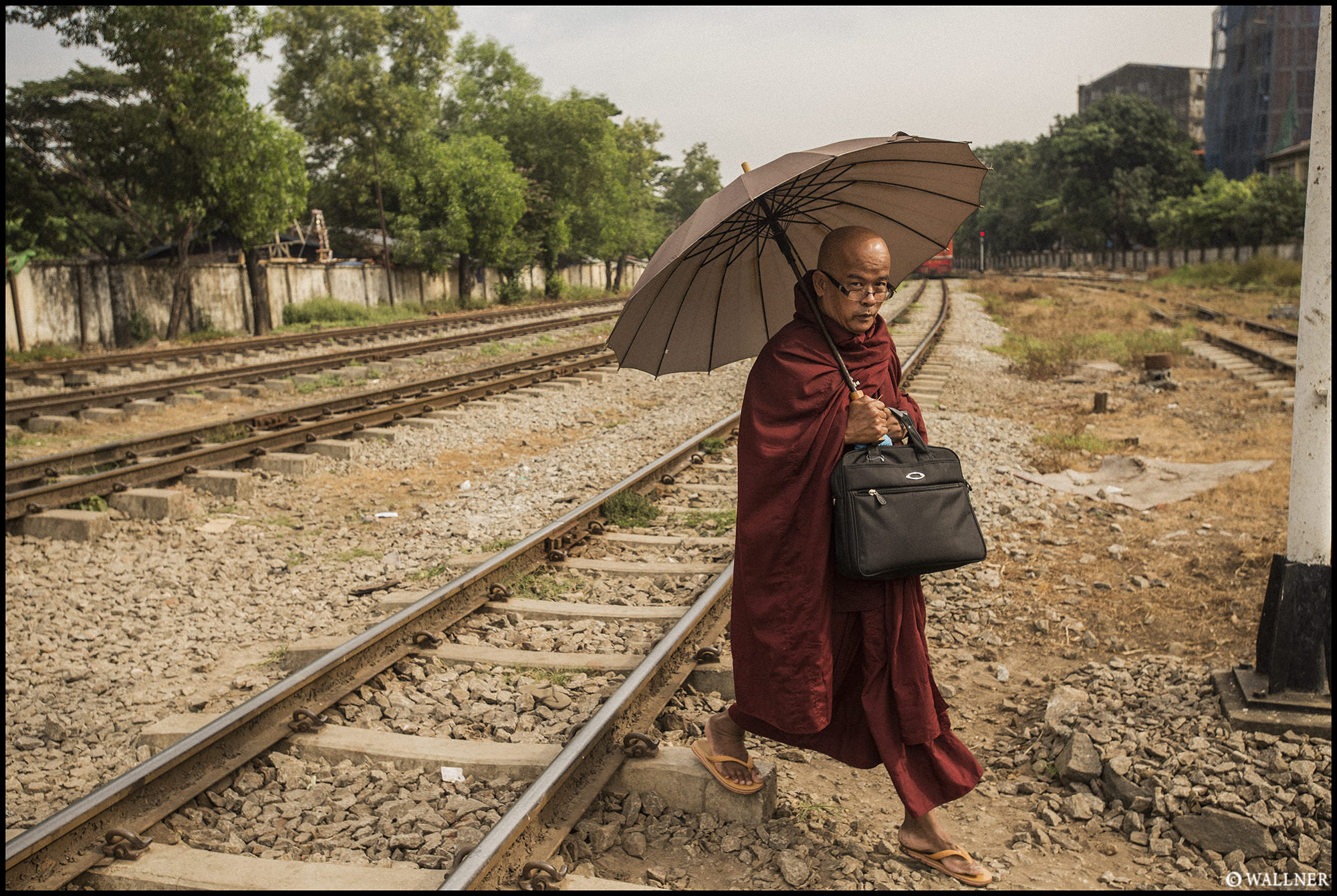 Digital Patrik Wallner Yangon Monk Traintracks Crossing LOWQ 2000P w WM copy